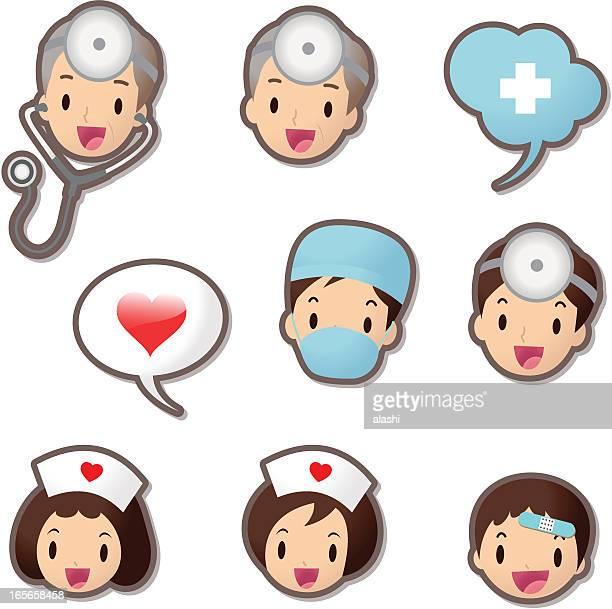 ilustraciones, imágenes clip art, dibujos animados e iconos de stock de linda icon set (emoticons)-el personal médico (médico y enfermera - asistente de enfermera