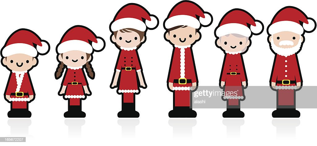 Cute Icon Set: Multi-generation Family with Christmas clothing : stock illustration