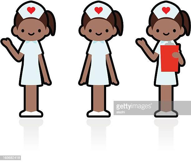 ilustraciones, imágenes clip art, dibujos animados e iconos de stock de linda icon set: profesional y amablemente sonriente enfermera - asistente de enfermera