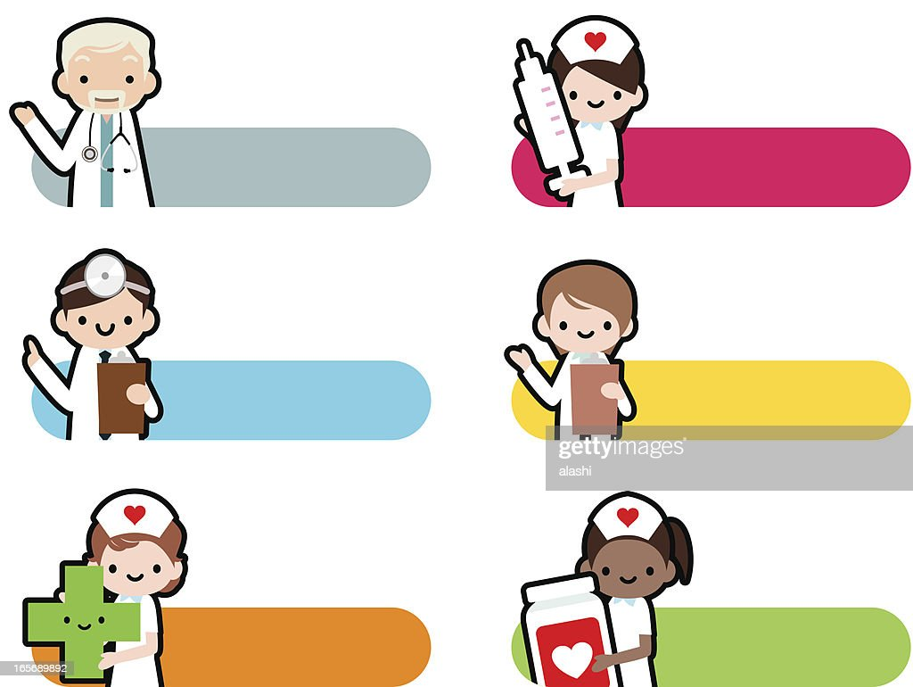 Cute Icon Set Professional Kindly Doctor And Smiling Nurse