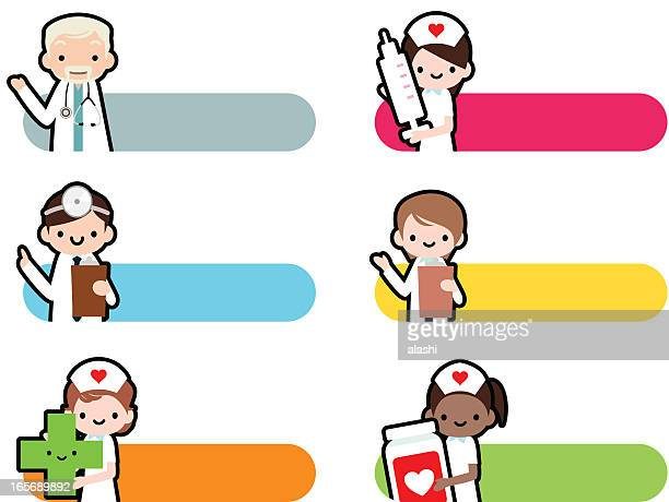 cute icon set: professional kindly doctor and smiling nurse - injecting stock illustrations, clip art, cartoons, & icons