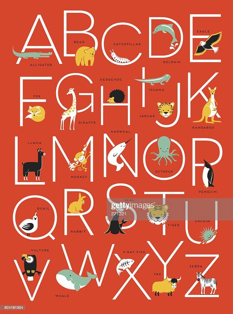 cute illustrated animal alphabet poster design for kids