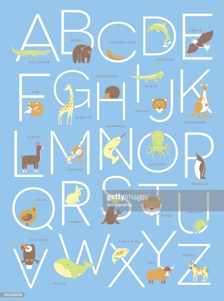 Cute illustrated animal alphabet poster design for kids.
