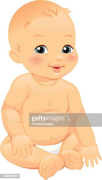 Cute illustrated baby isolated on a white background
