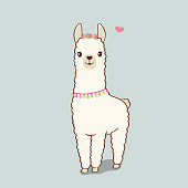 Cute illustration of Llama wearing flower wreath and necklace