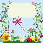 Cute insects Animal cartoon in grass and flowers. Vector illustration.