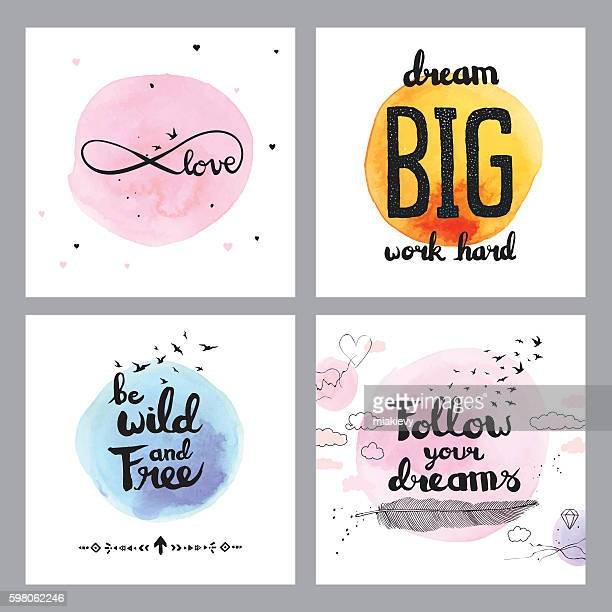 illustrations, cliparts, dessins animés et icônes de cute inspirational quotes - plume