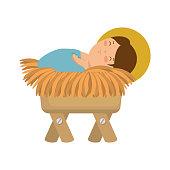 cute jesus baby in cradle