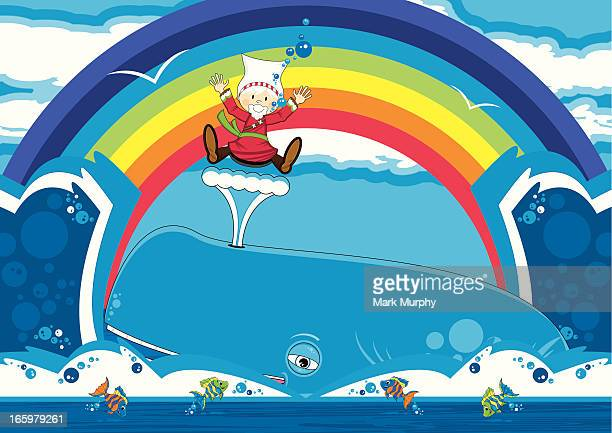 cute jonah and the whale bible scene - blue whale stock illustrations, clip art, cartoons, & icons