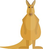 Cute kangaroo cartoon australia animal flat vector illustration
