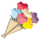 cute kawaii bouquet colorful isolated