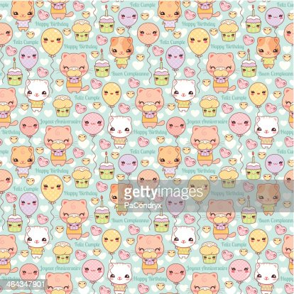 cute kawaii cats and cupcakes birthday background vector