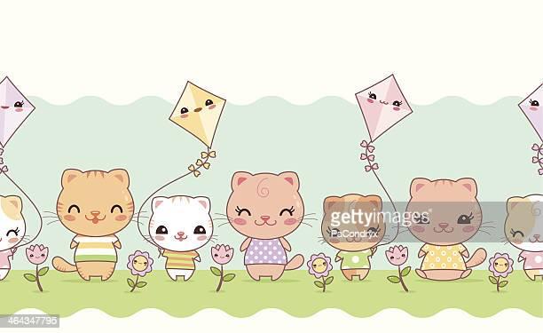ilustrações de stock, clip art, desenhos animados e ícones de fofo kawaii gatos sem costura fronteira - kawaii