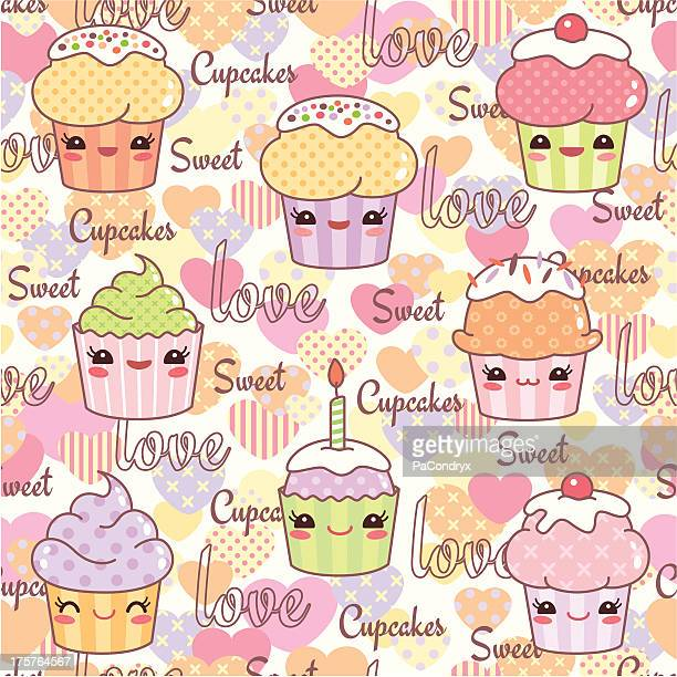 Cute Kawaii Cupcakes pattern seamless