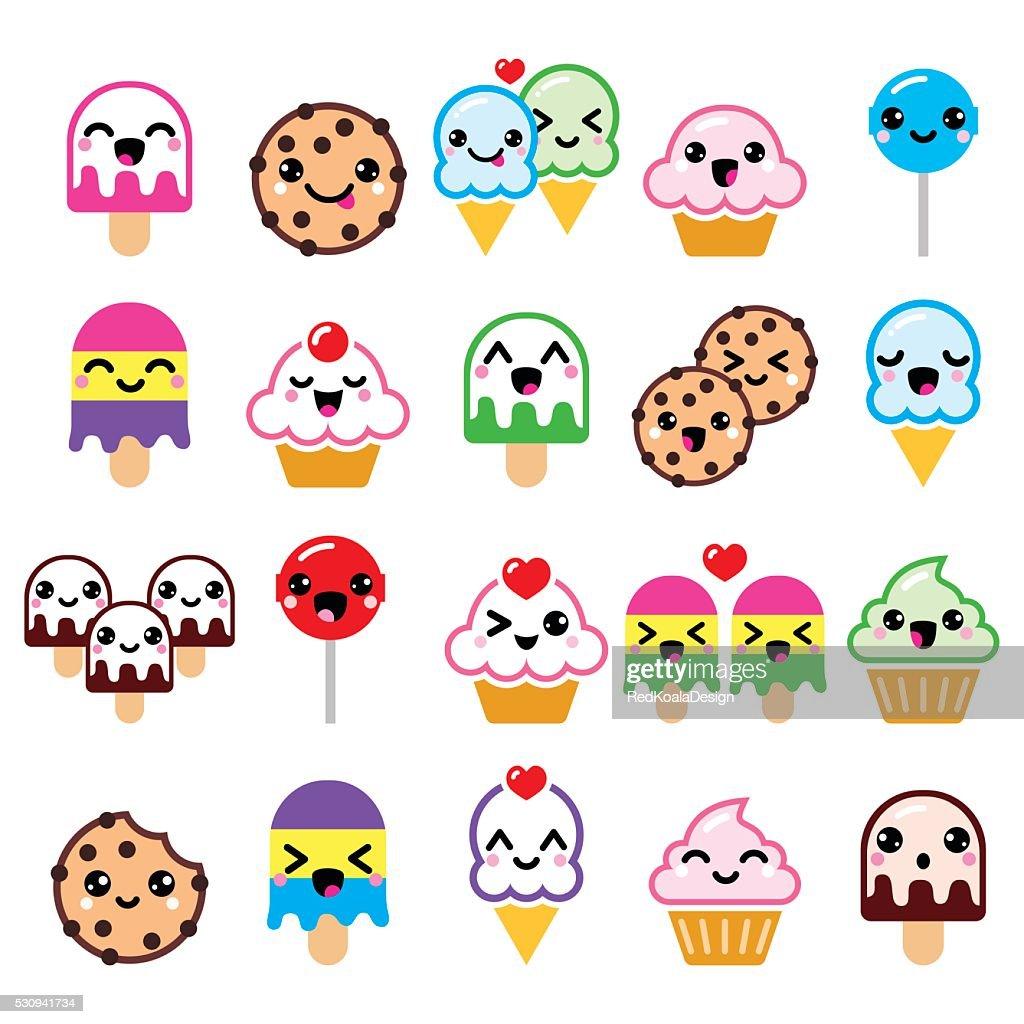 Cute Kawaii food characters - cupcake, ice-cream, cookie, lollipop icons