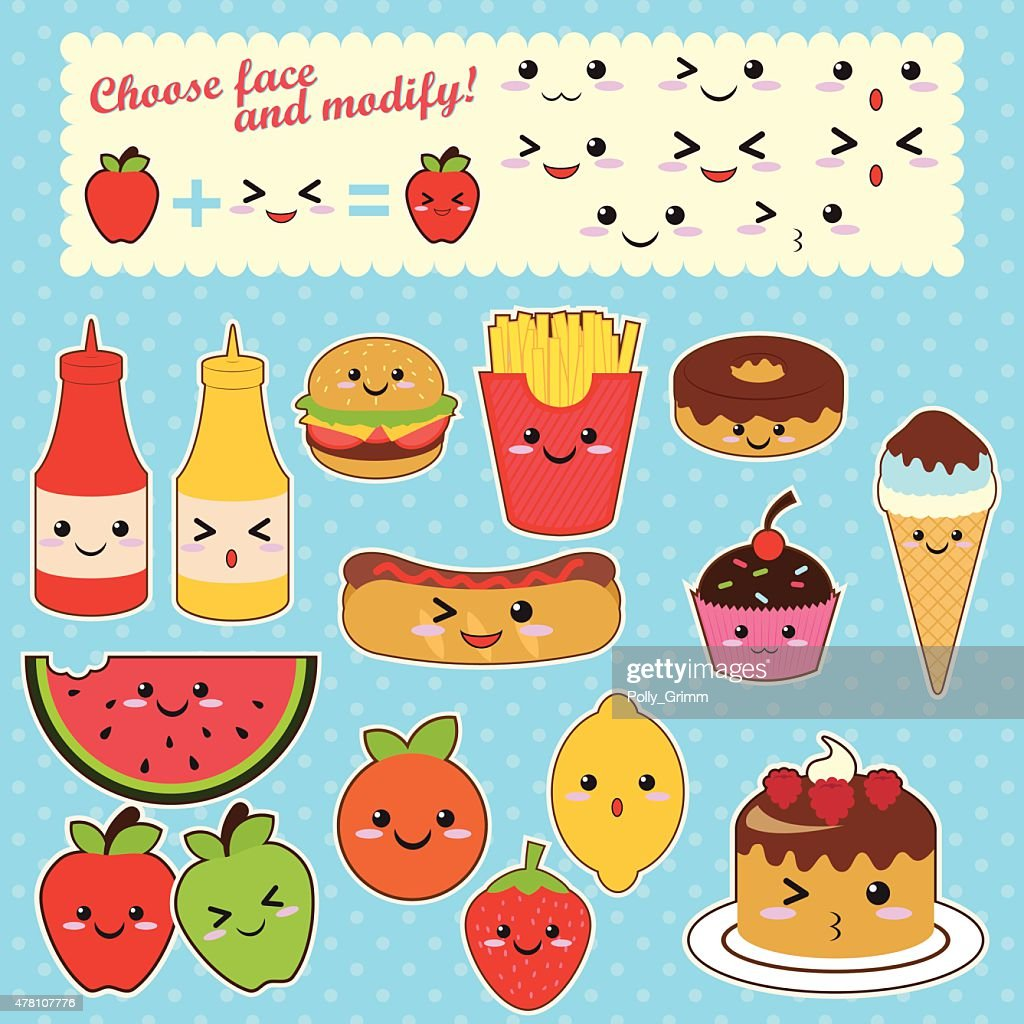 Cute Kawaii food characters fast food sweet fruit