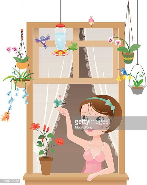 Cute kawaii hummingbirds window girl