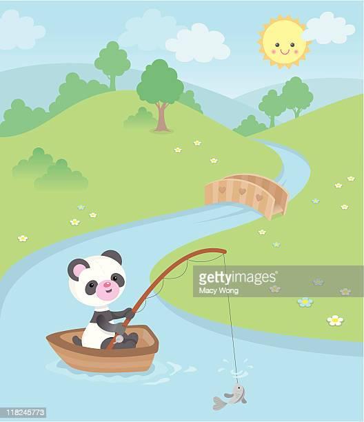 Cute kawaii panda fishing boat