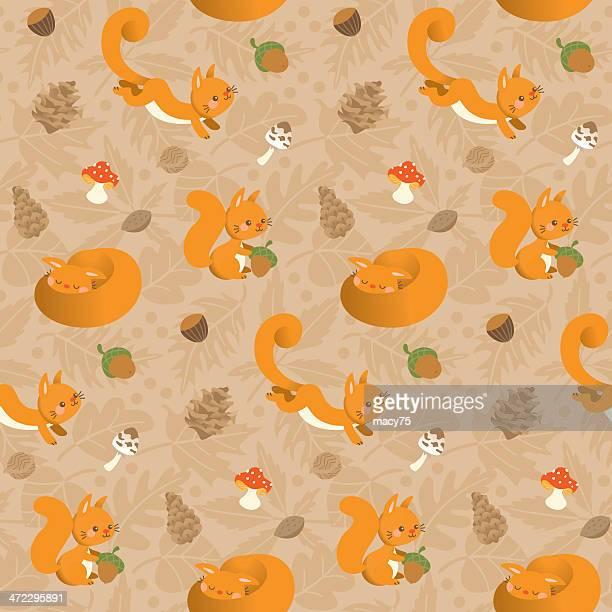 Engraçado kawaii Esquilo padrão Bege