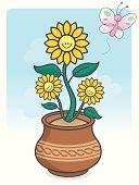 Cute kawaii sunflower
