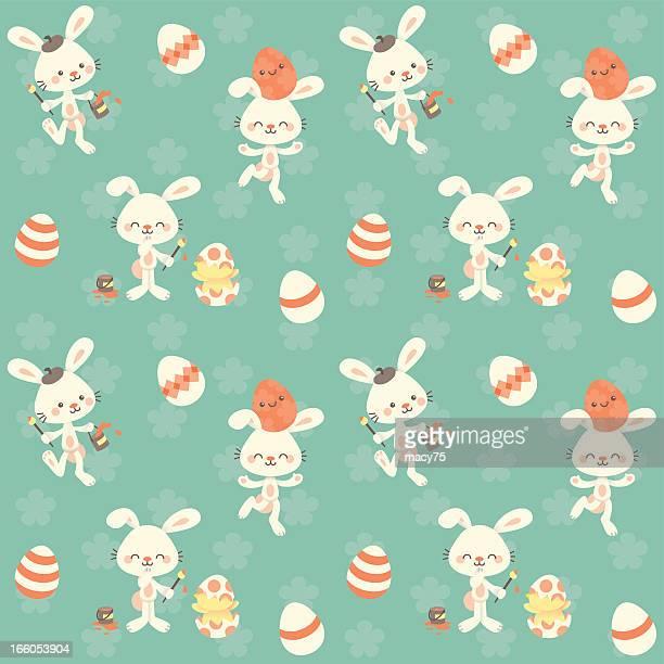 Cute kawaii Teal Easter bunny pattern