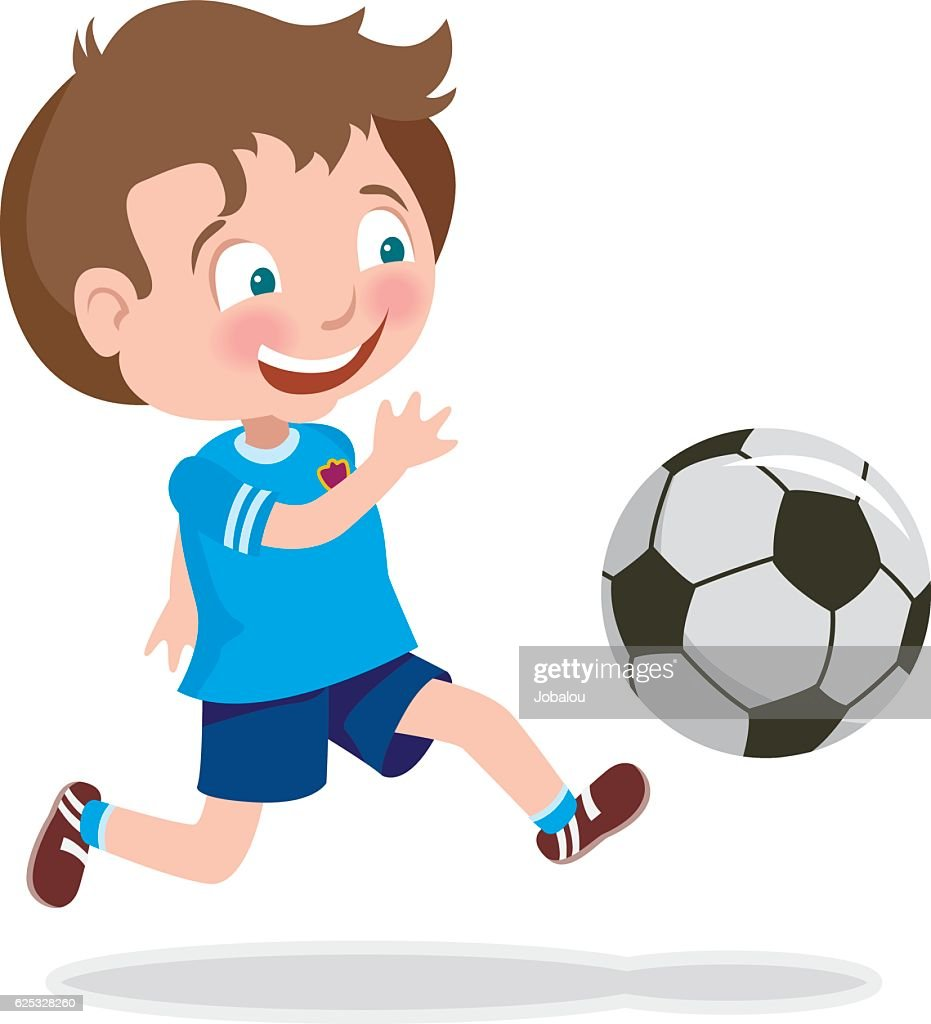 cute kid playing soccer vector art | getty images