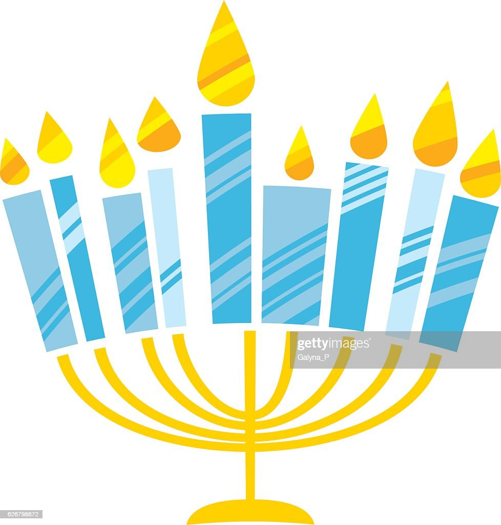 cute kiddy style hanukkah menora vector illustration.