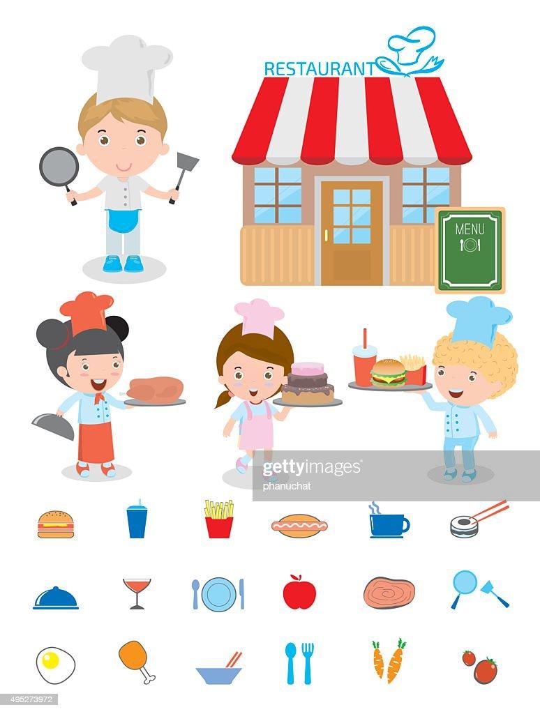 Cute Kids Chef,Kids Cooking, Children Cooking, Children chef cute.