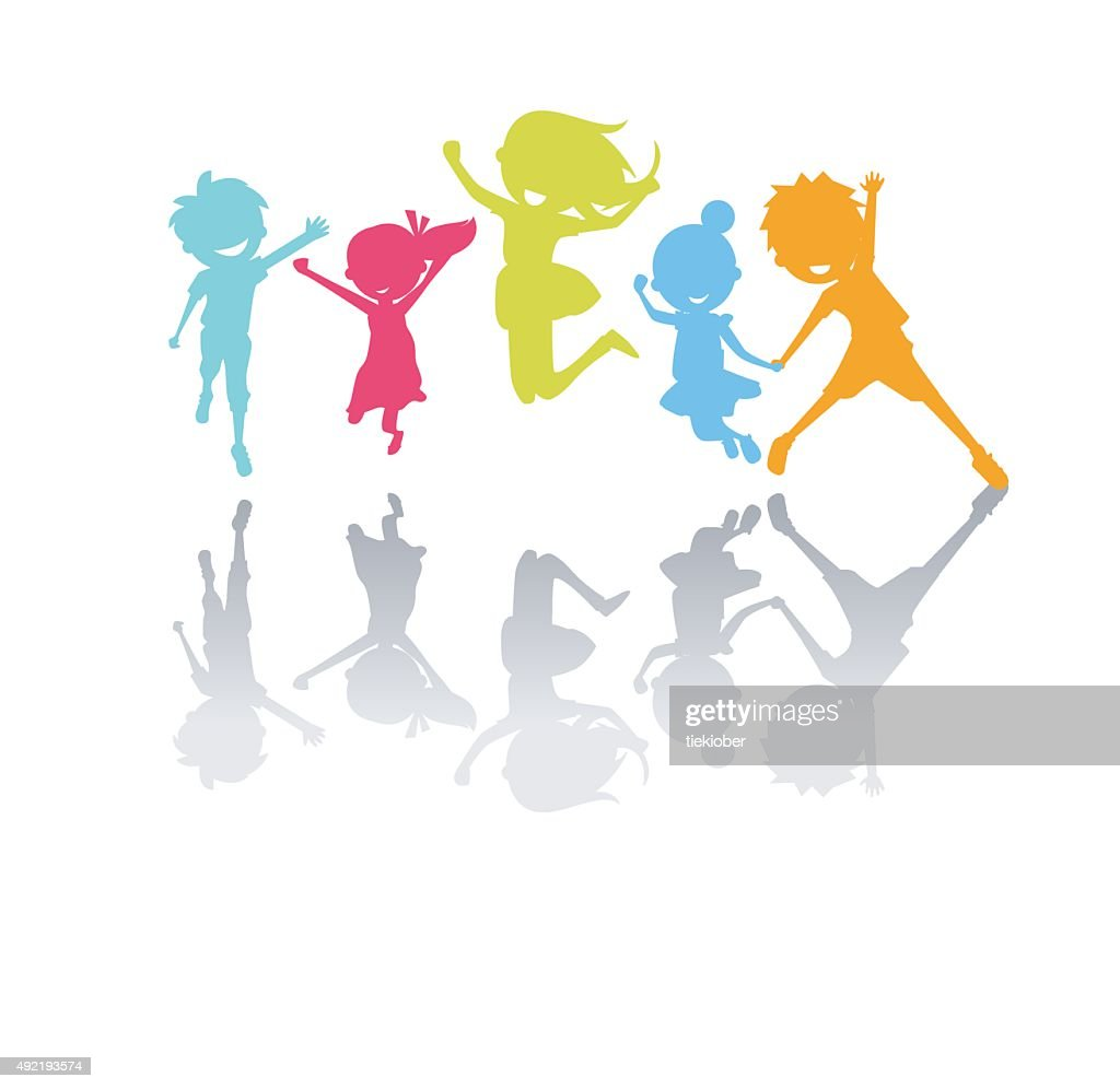 Cute kids jumping