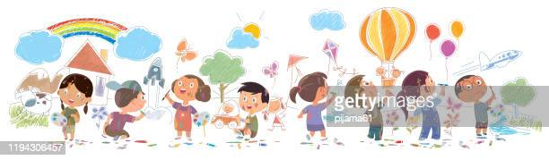 かわいい子供たちが壁に絵や図面 - 子供時代点のイラスト素材/クリップアート素材/マンガ素材/アイコン素材