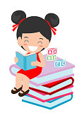 cute kids reading book,cute children reading books, Happy Children while Reading Books, Vector Illustration on white background.education concept