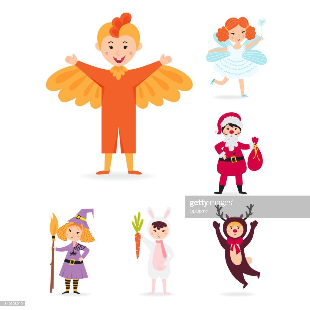 小さな孤立した者陽気な子供休日イラスト クリスマス衣装ベクトル文字を