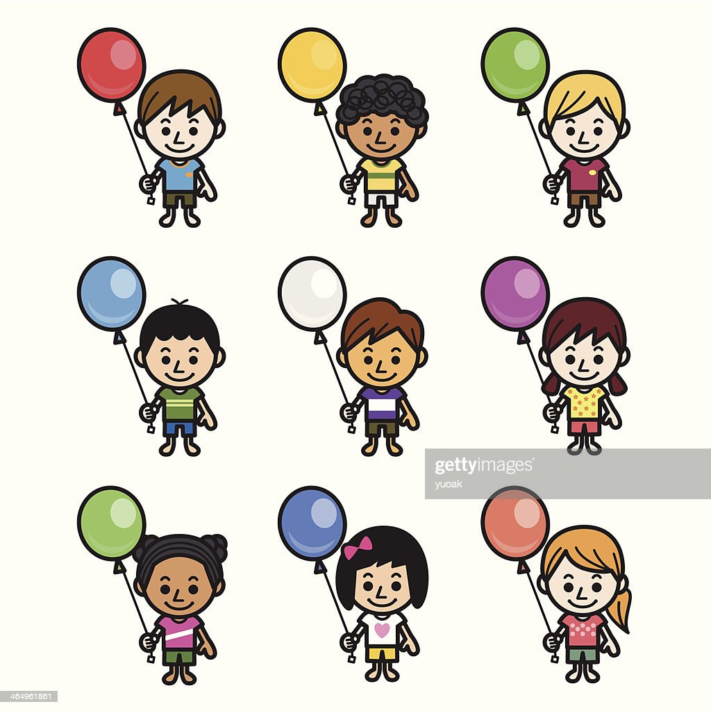 Cute kids with balloon
