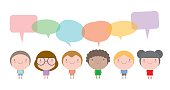 Cute kids with speech bubbles, Set of diverse children