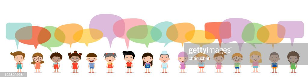 Cute kids with speech bubbles, Set of diverse Kids and Different nationalities with speech bubbles isolated on white background