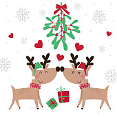 Cute kisses reindeer on mistletoe with red and green color, cute Christmas character design, vector illustration