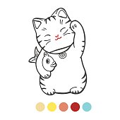 Cute kitten with fish coloring page