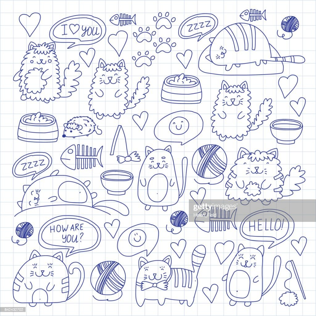 Cute kittens Cat icons Kids drawing Children drawing Doodle domestic cats for veterinary, cattery, zoo, kindergarten, pre-school Cat's nursery