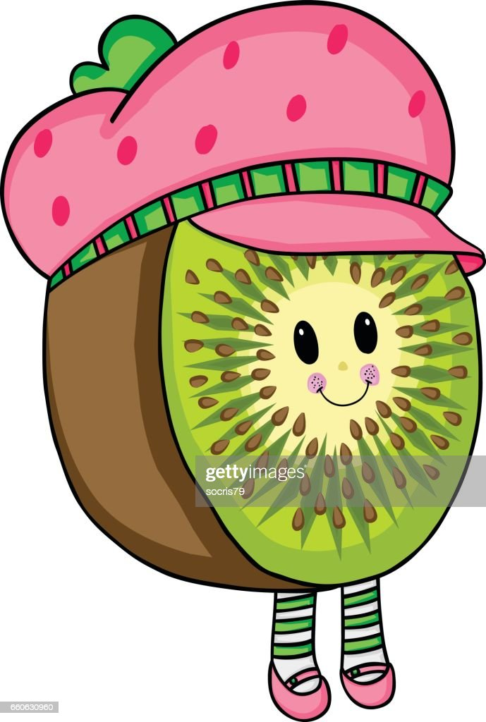 Cute kiwi cartoon with strawberry hat