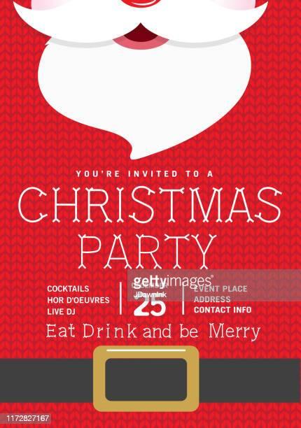 süße gestrickte santa urlaub weihnachten party einladung design vorlage - einladungskarte stock-grafiken, -clipart, -cartoons und -symbole