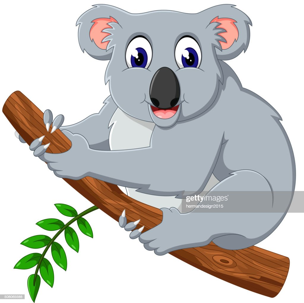 Cute koala cartoon on a tree