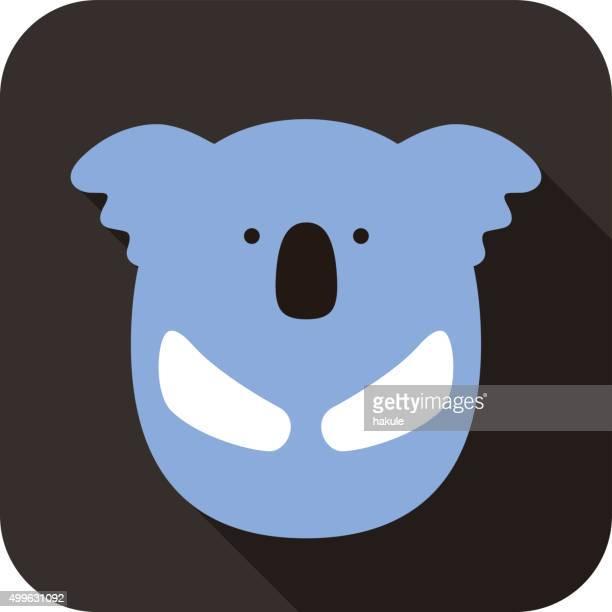 illustrations, cliparts, dessins animés et icônes de koala mignon visage et du corps, illustration vectorielle design plat - koala