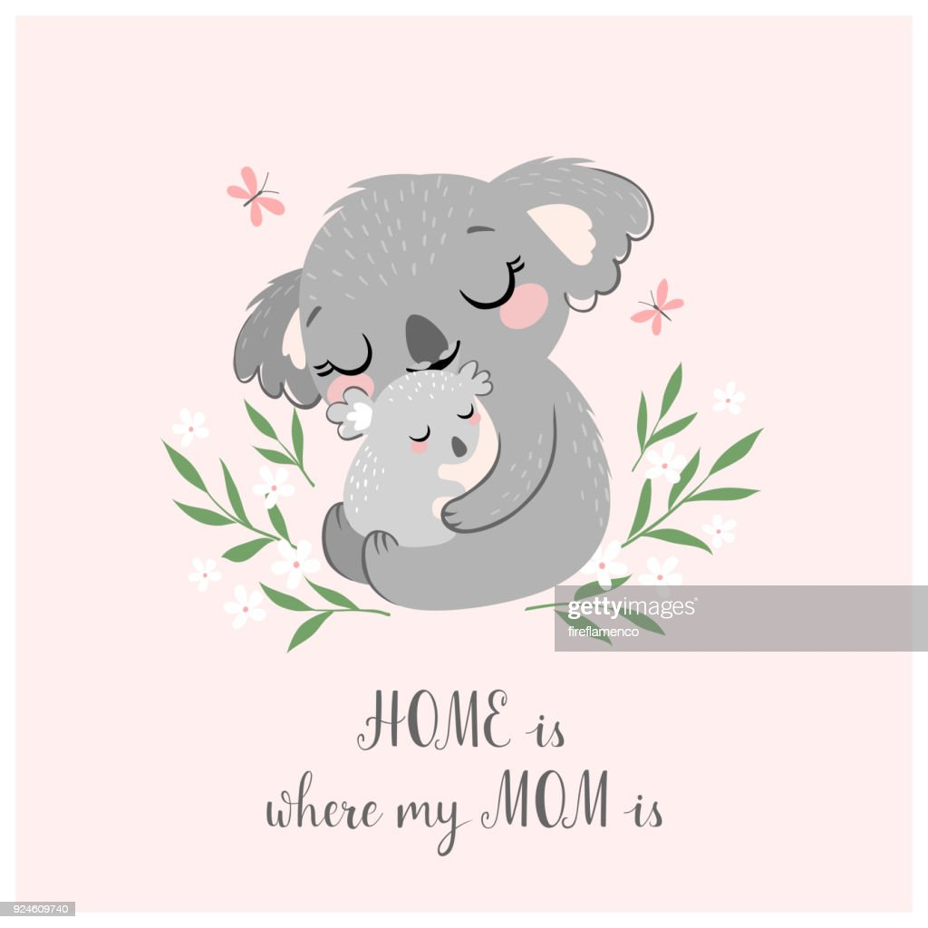 Cute koala MOM and baby