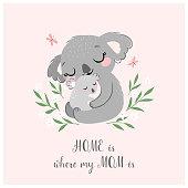 Cute koala MOM and baby