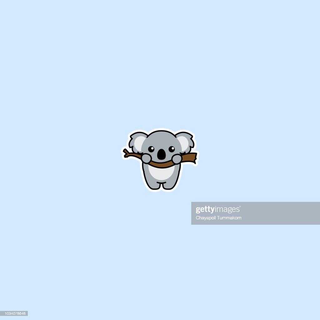 Cute koala on a branch cartoon icon, vector illustation