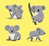 Cute Koala Poses Cartoon Vector Illustration