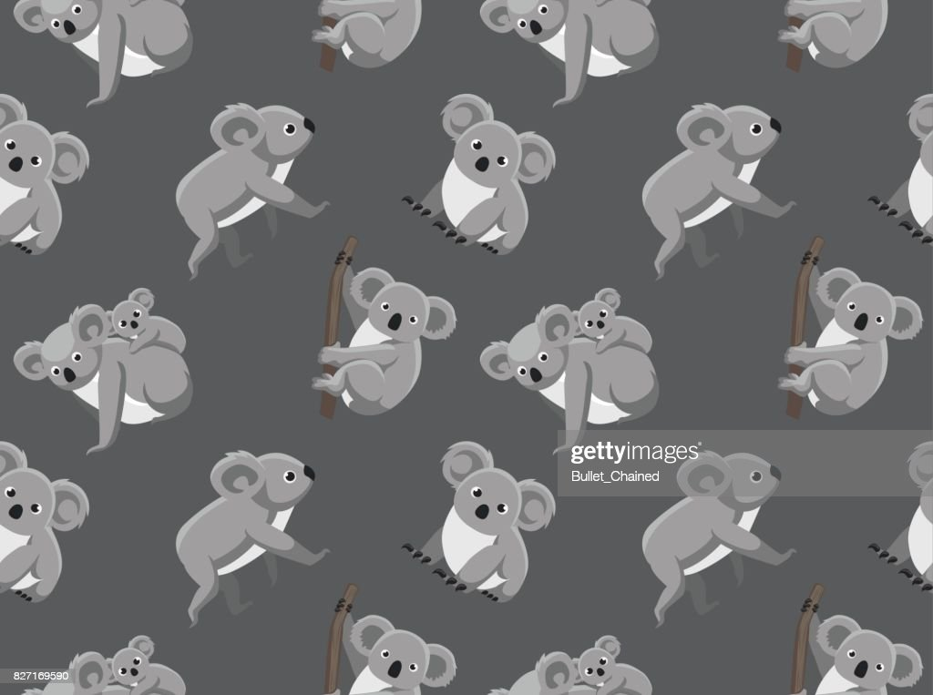 Cute Koala Seamless Wallpaper