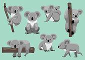 Cute Koala Seven Poses Cartoon Vector Illustration