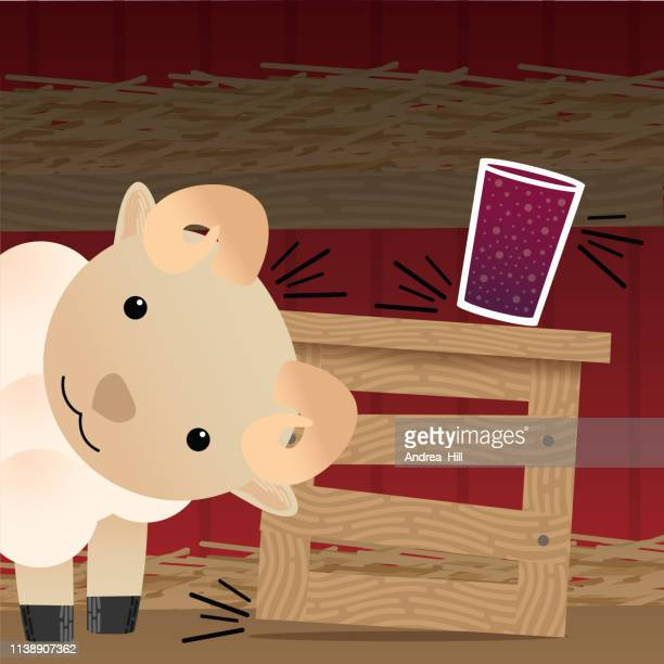 Cute Lamb Tips over a Crate