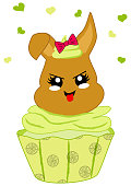 cute lemons cupcake with bunny in kawaii style.